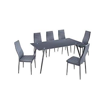 Home Ensemble Table A Manger 6 Personnes 160x90 Cm Chaises En Simili
