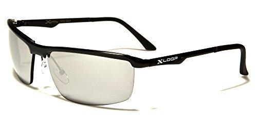 X-Loop Sportbrille Unisex Damen Herren Sport Sonnenbrille Metall mit Kunststoffbügel in verschiedenen Farben mit Brillenbeutel YTku9nxcl