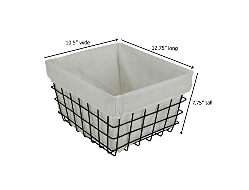 Cheung's 16S003 Lined Metal Wire Rectangular Storage, Black