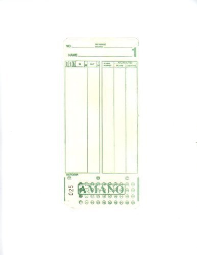2000 Amano Microder Mjr7000 Computerized Time Clock Cards 000-099 Timecards by AMANO