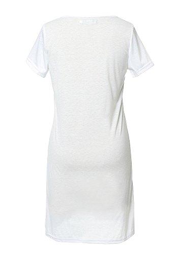 Casual Top Carta Manga Mujer Corta Impreso Misseurous Slim La Camiseta De Blanco Sportwear HS8dqnq
