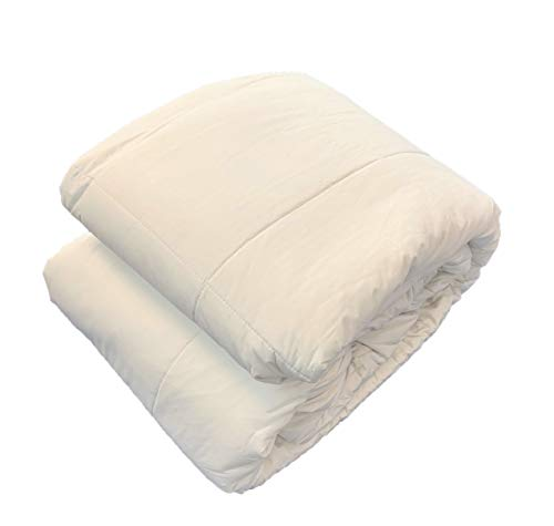 OrganicTextiles Full Organic Comforter, Organic Cotton Both Filling and Cover (King/Cal King Size, 350 Thread Count) ~ Natural Materials ~ Machine Washable ~ Hypoallergenic
