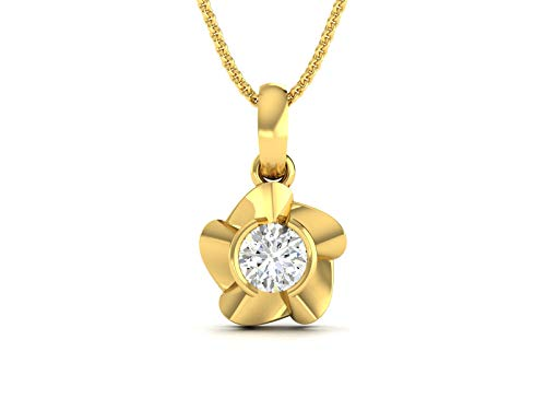 14KT Gold with Glossy Finish Bezel Set Floral Design Diamond Pendant-PF1235