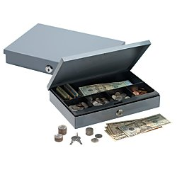 Ultra-Slim Cash Box With Security Lock, 2in.H x 11 1/4in.W x 7 1/2in.D, Gray