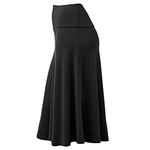 Jupe Taille Femme Patineuse Haute Vintage Rtro Maxi Plisse Midi Extensible Sixcup Jupe Base Noir Longue Jupe Chic Long Mi Taille zYXttx