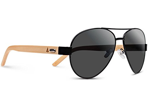 TREEHUT Wooden Bamboo Sunglasses Temples Classic Aviator Retro Metal Frame Top Gun Wood Sunglasses (Black Frame, Grey Lenses) (Hut Sunglasses Sunglass)