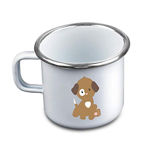 Brown White Puppy Sits Metal Camping Mug Enamel Cup
