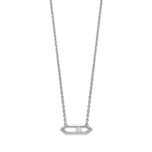 (14k White Gold Sliding Diamond Bar 17.5in Chain Necklace Pendant Charm Fine Jewelry Gifts For Women For Her)