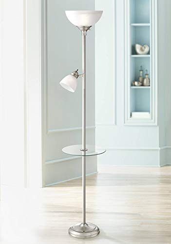 London Modern Torchiere Floor Lamp with Table Glass Brushed Nickel Adjustable Side Light for Living Room Reading Uplight - 360 Lighting
