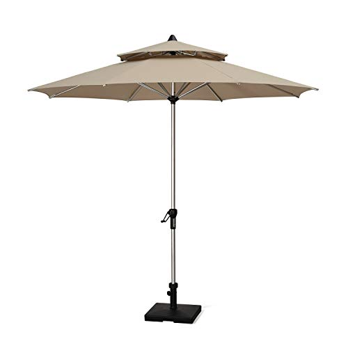 PURPLE LEAF 9 Feet Double Top Deluxe Sunbrella Patio Umbrella Outdoor Market Umbrella Garden Umbrella, Beige ()