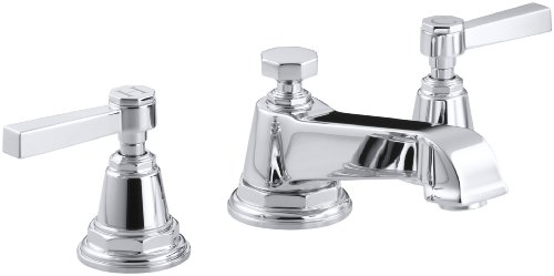 KOHLER K-13132-4A-CP Pinstripe Pure Widespread Lavatory Faucet, Polished -