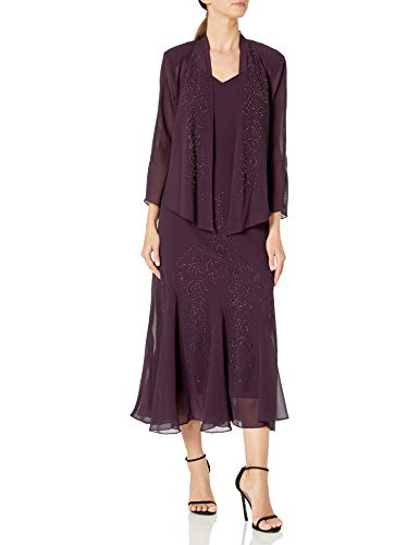 R&M Richards Women's Beaded Chiffon Jacket Dress, Eggplant, 18