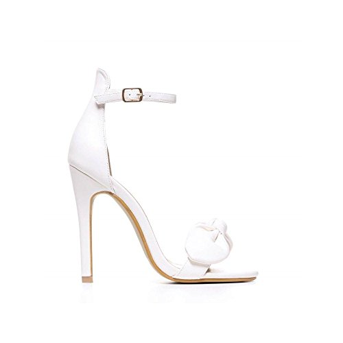Pu Stiletto Bow Suede Ankle Strap Pink Sandal Onlineshoe White Suede Black Pu Detailed SzaEAw6wxq