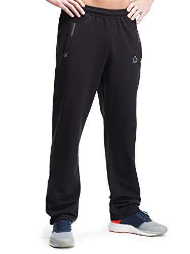 Athletic Workout Pants - SCR Men's Workout Activewear Pants Athletic Sweatpants Black Long (Large x 36L Straight, Black)