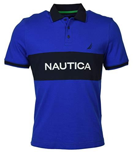 Nautica Classic Fit Heritage Signature Polo Shirt (Large, Cobalt/Navy Blue)