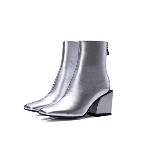 SILVER Nackte Schuhe Stiefeletten nach Kopf Volltonfarbe Winterparty Chunky Herbst 120W dem Reißverschluss Heels Leder Damen Stiefel PXF6Pqw