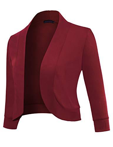 Anmery Womens 3/4 Sleeve Cardigan Slim Fitted Petite Cropped Open Front Women's Bolero Shrug Long Sleeve Blazer Jacket Women Professional Work Office Casual Wine - Blazer Spandex Vintage