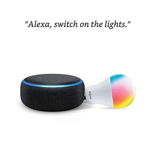 Echo Dot (Black) Combo with Wipro 12W Smart Color Bulb – Smart Home Starter Kit