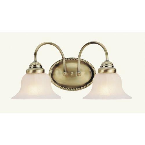 Livex Lighting 1532-01 Edgemont 2 Light Vanity Antique Brass with White Alabaster Glass