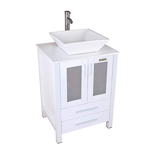 eclife White Bathroom Vanity Cabinet And Sink Units Modern Stand Pedestal with Square White Ceramic Vessel Sink, Chrome Bathroom Solid Brass Faucet and Pop Up Drain Combo, With Mirror (A07B02W) ()