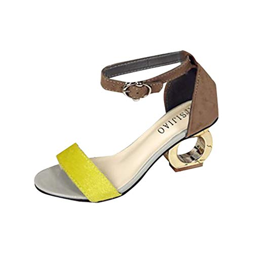 GHrcvdhw Women's Shose Special Heel Open Toe Shoes Casual Stylish Summer Ladies Button Buckle Sandals - Button Toe