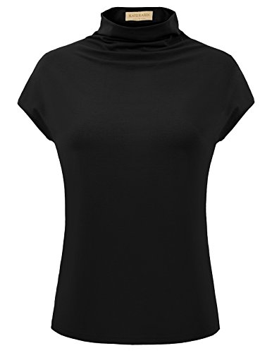 Kate Kasin Stretch Loose Sleeveless Mock Neck Ruched Front Cotton Top(S,Black)