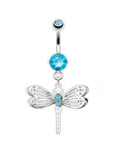 Stainless Steel Bananabell Belly Ring (316L Surgical Steel) Blue Rhinestone Studded Bananabell (14g) Dragonfly Charm Navel Ring Body Piercing (1pc)