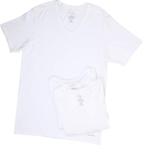 Calvin Klein Underwear Men's Short Sleeve Cotton Classic Slim Fit V-Neck 3-Pack White Medium