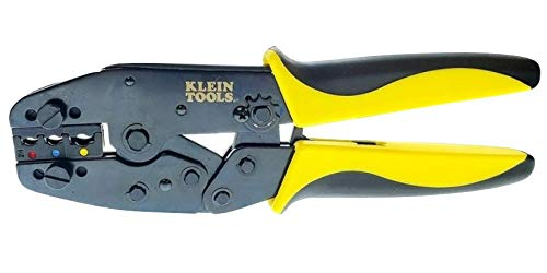 Wire Terminal Crimper with Klein Ratchet Tool & Crimp Die Set for Insulated Terminals, AWG 10-22