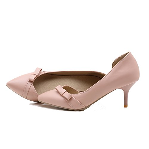 VogueZone009 Women's Soft Material Closed-Toe Kitten-Heels Pull-On Pumps-Shoes Pink jL1ZYECf6
