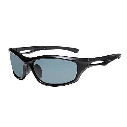 SUNGAIT Lightweight Sports Sunglasses HD Polarized Lens UV 400 Protection (Black Frame Gray Lens, 65) Plastic Frame 8848 - Lens Protection Uv 400
