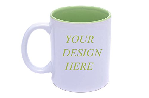 Diy Personalized Coffee Mug Add pictures, logo, or text to Custom Mugs Cups For Gift (Green White) -
