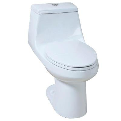 1-Piece High Efficiency Dual Flush Elongated Toilet in White include seat