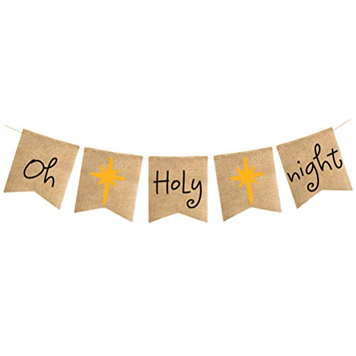 Banner oh-holy-Night Buntings Christmas Tree Garland Holiday Bunting Party Decorations(Large Size) ()