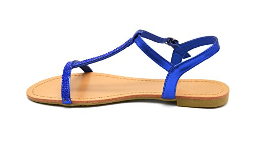 SHS63 * Sandales Nu-Pieds Bride Satinée Ornée de Strass avec Boucle - Mode Femme, 37, Bleu