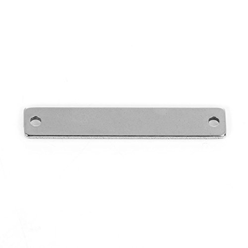 5 Count Stainless Steel Rectangle Bar Metal Stamping Blank with Two Holes 38mm x 6mm