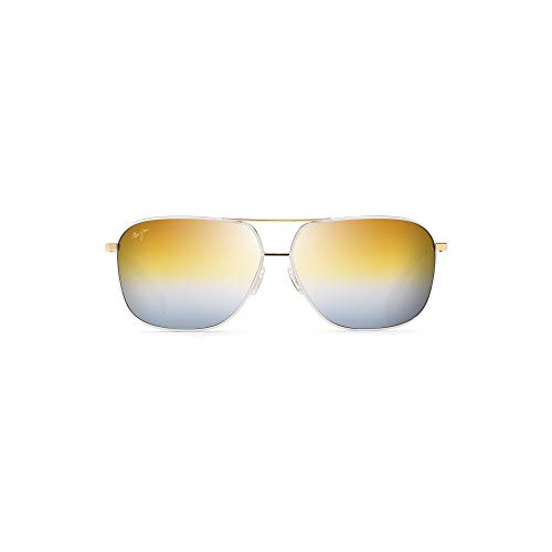 (Maui Jim Kami DGS778-05C   Polarized White Aviator Frame Sunglasses, Dual Mirror (Gold to Silver over HCL Bronze) Lenses with Patented PolarizedPlus2 Lens Technology)