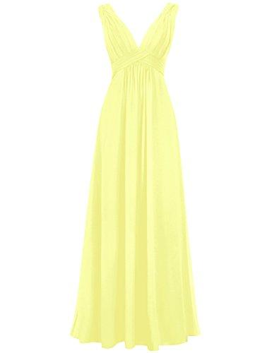 Dresses Formal Womens Party V Neck Deep Bridesmaid Prom Chiffon Pleats Yellow Cdress Long 40qzq