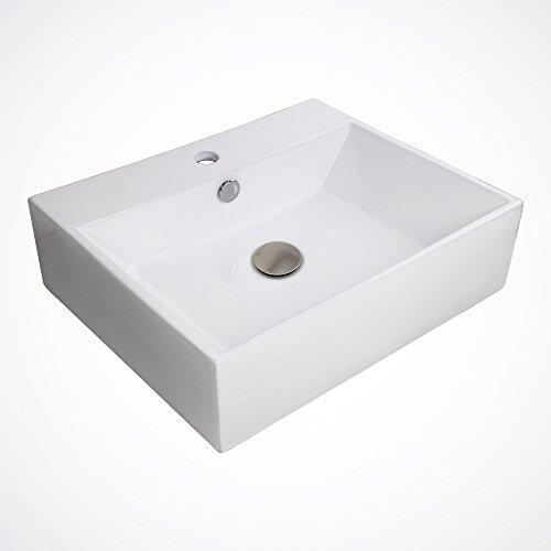 GotHobby Large Ceramic Vessel Sink Basin & Brushed Nickel Popup Drain Faucet Bathroom