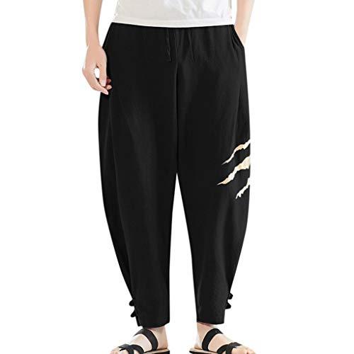 kaifongfu Men Drop Crotch Funnel Trousers Pockets Drawstring Harem Pants Casual Drawstring Sweatpants Long Pants(Black,XXL)