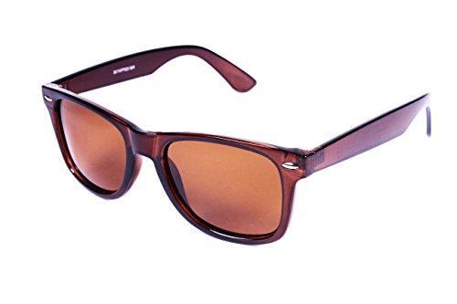5zero1 Retro Polarized Sunglasses Classic 80's Outdoor Men Women Glasses - Wayfarer Sunglasses Brown