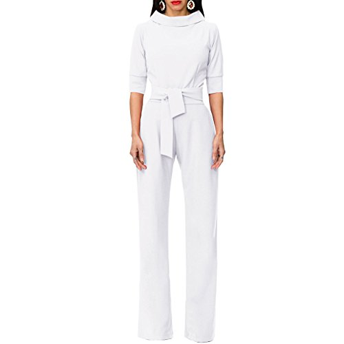 Formal Pant Suit - Chicmay Womens Short Sleeves Sexy Wide Leg Belted Formal Elegant Cocktail Jumpsuit Romper,White,Small