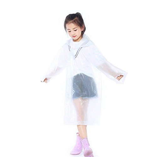 Walsilk 2Pack Emergency Rain Ponchos for Kids,Waterproof Child Raincoats with Hood and Sleeves,Portable & Lightweight (2White)