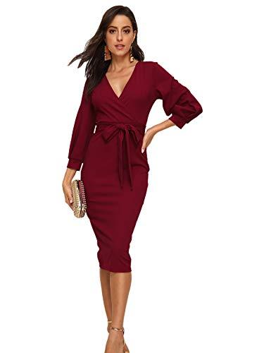 Verdusa Women's Surplice Wrap Bishop Sleeve Belted Bodycon Pencil Dress Red XL