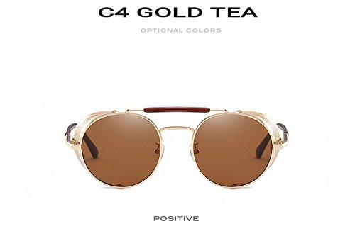 Gafas 9234 ROUND Lunettes Lunettes or th¨¦ C4 Punk Or Th¨¦ Zygeo cool lunettes Vintage Hommes Femmes de Miroir soleil Personnalit¨¦ C4 Steampunk 6Bgqf