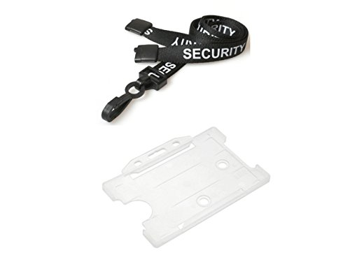 (ID Card It Black Security Neck Strap Lanyard and Clear ID Card Holder Badge Pass Holder -)