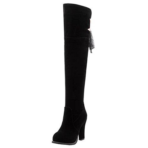 AIYOUMEI Damen Blockabsatz High Heels Overknee Stiefel mit Spitze Warm Langschaft Stiefel Schwarz