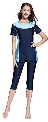 Ababalaya Womens' Color Block Moderate Cover 2 Piece Swimsuit Burkini, Navy Blue, XL ()