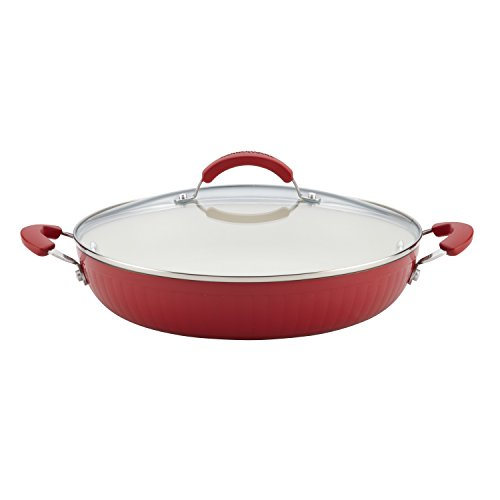 Non Stick Covered Skillet (Farberware New Traditions Aluminum Nonstick 12-Inch Covered Deep Skillet with Side Handles, Red)