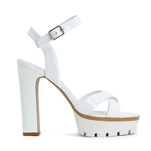 ALESYA by Scarpe&Scarpe - Sandalias altas con correa y plataforma de goma, de Piel, con Tacones 13 cm Blanco